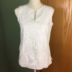 Talbots white sequin embroidered linen top 4p